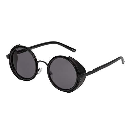 Ultra Schwarz Rahmen Schwarz Linsen Steampunk Sonnenbrille Retro Damen Herren Rund Rave Gothic Vintage mit Scheuklappen UV400 Schutz Metall Unisex
