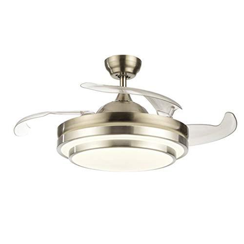 TONG Luz de Ventilador Ventilador de Techo Invisible con luz lámpara de salón de Cristal Simple luz de Ventilador de Techo Personalidad (Color : Silver)