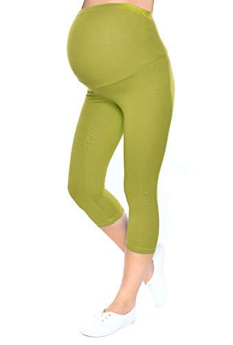 Mija – Leggins cosechados 3/4 de maternidad alta calidad 1041 (EU 38/40, Verde)