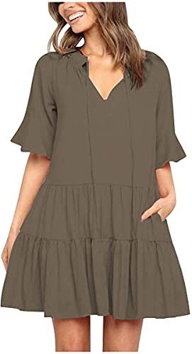 DFLYHLH Vestidos casuales para mujer, lindos vestidos de cuello en V con manga de cuerno y cuello en V, vestido corto y plisado, Ejercito Verde, M