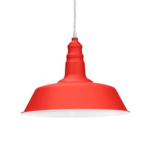 Relaxdays Lámpara Colgante, Rojo, 116 x 36 cm