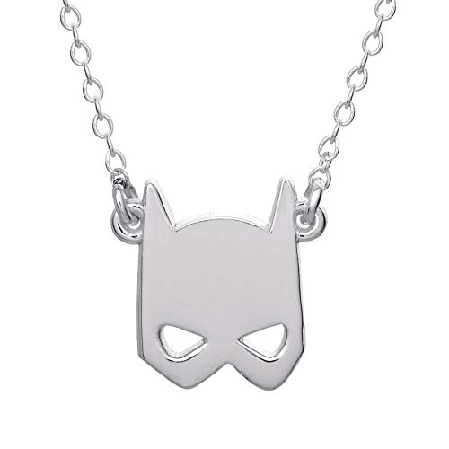 """DC Comics Offically Licensed Jewelry for Women and Girls Batman Jewelry for Women and Girls, Sterling Silver Batman Mask Pendant, 18"""" Chain"""