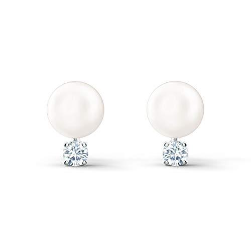 Swarovski Treasure Pearl Ohrringe, Rhodinierte Ohrstecker mit Schimmernder Perle und Funkelndem Swarovski Kristall