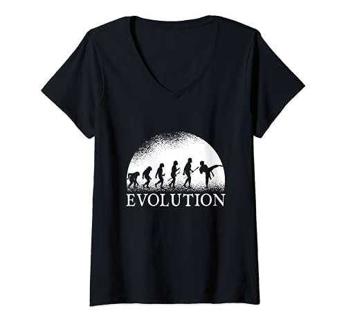 Mujer Evolución del Karate - Evolución del Karate Camiseta Cuello V