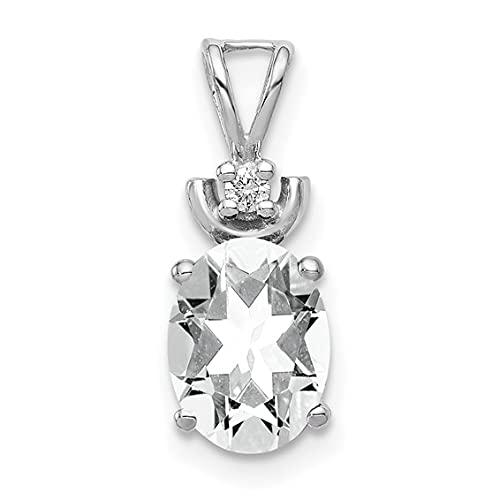 Jewelry-14k White Gold 8x6mm Oval Cubic Zirconia AA Diamond Pendant