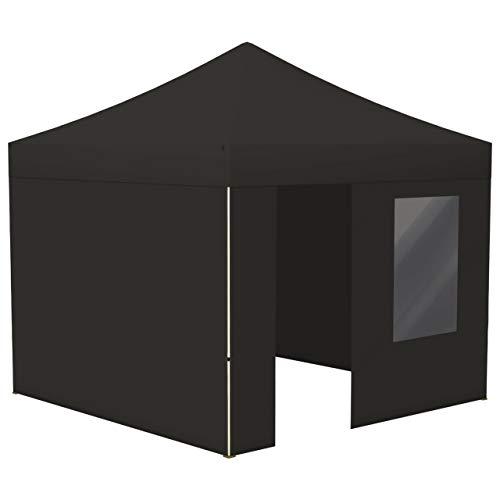 Vispronet® Faltpavillon Eco 3x3 m ✓ 4 Zeltwände (3 Vollwände, 1 Wand mit Tür & Fenster) ✓ Scherengittersystem ✓ inkl. Dach mit Volant (Schwarz)