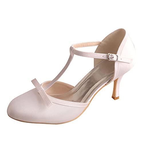 Zapatos De Novia para Mujer Tacón De Aguja Mary Janes con Lazo...