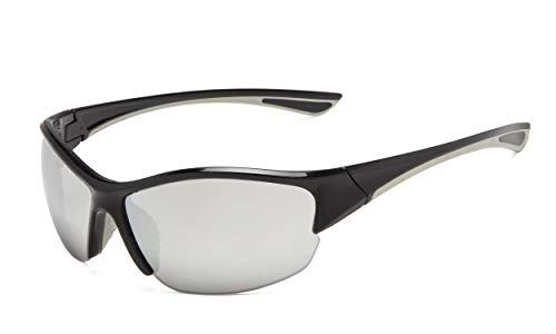 Eyekepper Half-Frame Deportivas Gafas De Sol Bifocales +2.00 Gafas De Sol De Lectura (Plata Espejo)