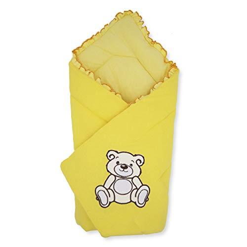 BlueberryShop Jersey Baby Swaddle Wrap beddengoed deken | Slaapzak voor pasgeborenen | Bestemd voor kinderen 0-3 maanden | Perfect als baby douche cadeau | 78 x 78 cm | Geel