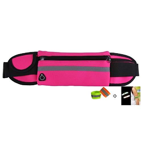 ZXJOY Riñonera para correr con bolsillo de viaje, impermeable, bolsa de hombro, soporte para teléfono, cinturón para correr, 5 colores (E-rosa rojo)