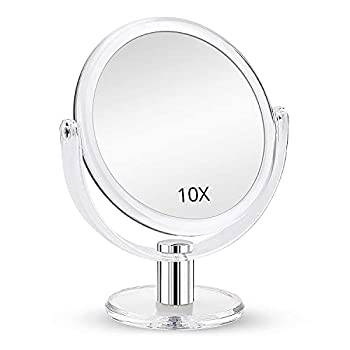 Fabuday Magnifying Makeup Mirror Double Sided 1X 10X Magnification Mirror Table Top Vanity Mirror for Home Bathrom Transparent