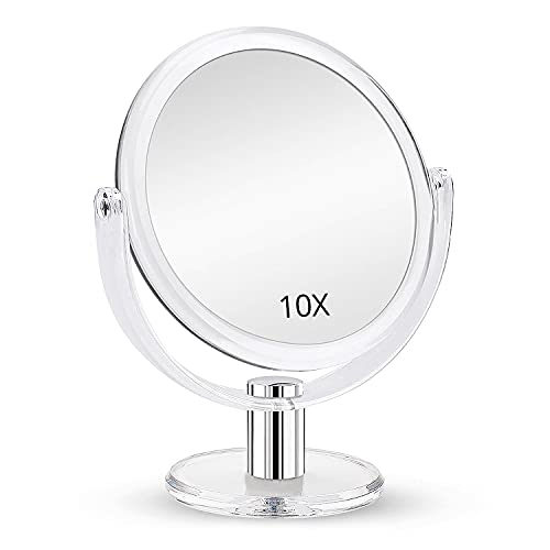 Magnifying Makeup Mirror Double Sided, 1X 10X Magnification Mirror, Table Top Vanity Mirror, Transparent