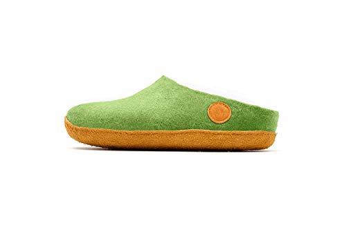 [ナウセニ] 手作りウールフェルト室内履きスリッパ Original Collection グルングリーン(芝緑) 28 cm
