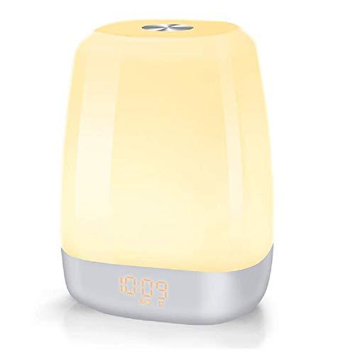 Ayanx Wekker Smart Touch LED Tafelklokken Verandering in kleur Kleurrijk licht Slaaplicht Sfeer Maan Bureaulamp Wit