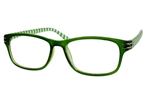 Lesebrillen Damen Herren zweifarbig Smaragdgrün weiß mit Streifen außen oben chrom silber eckige Form Kunststoff Lesehilfen Sehhilfen 1.0 1.5 2.0 2.5 3.0 3.5, Dioptrien:Dioptrien 3.0