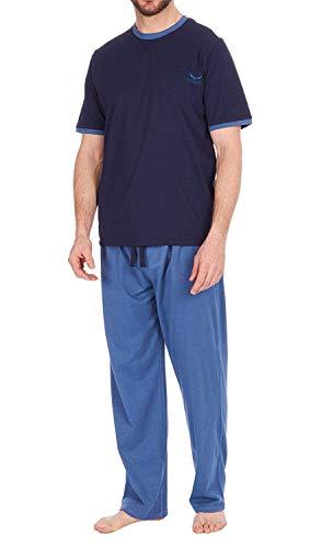 Hombre Set Pijama Top de Manga Larga y Pantalones Pijama de Algodón - Azul Marino, XXL