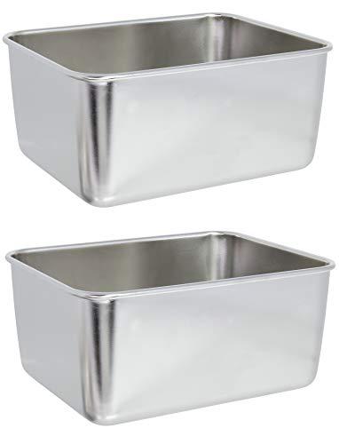 Marinax 2Stück Edelstahl Box rechteckig – 13,5x10,5x6,2cm zur Ablage u. Servierung von Lebensmittel, Saucen usw.