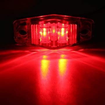 C-FUNN LED Side Marker Lights Indicator lampen 10 – 30 V Amber/Red/White 1 stuk voor auto truck trailer (alleen in het Engels) Rood