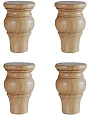 Beukenhout Massief houten meubelpoten vervangende poten 4 stuks gedraaide houten poten met hangerbouten met schroefdraad en montageplaatschroeven voor bank TV-standaard Bank fauteuil