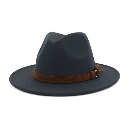 Lisianthus Men & Women Vintage Wide Brim Fedora Hat with Belt Buckle A-Dark Grey 59-60cm