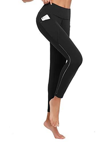 BALEAF Women's Thermal Fleece Water Resistant Running Pants Cycling Tights Winter Leggings Bike Hiking Pockets Size Black/Gray M