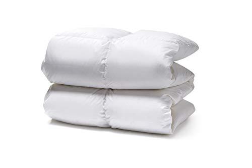 White Cloudz KAPRUN Daunendecke 260x220 cm Wärmeklasse 3 – Ganzjahres-Bettdecke mit 90prozent Europäische Gänsedaunen – 1350g, hochwertiger Bezug aus 100prozent Mako Baumwolle, besonders weich und flauschig