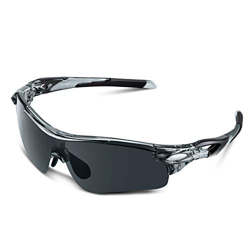 Bea Cool Sportbrille Sonnenbrille Herren, Polarisierte Sport Brille mit UV400 Schutz TAC Sportsonnenbrille PC Rahmen für Radfahren, Laufen, Outdoor-Aktivitäten (Transparentes Grau, Grau)