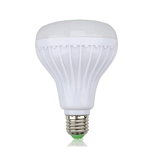 REFURBISHHOUSE Luz bombilla de color RGB LED E27 12W Lampara de altavoz de audio de musica inteligente control Bluetooth