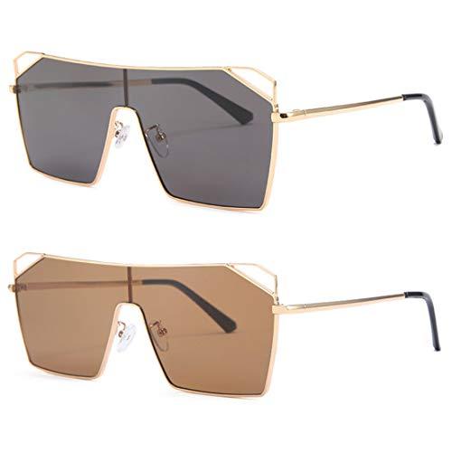 HFSKJ Paquete de 2 Gafas de Sol, Gafas de Sol cuadradas de una Pieza para Mujer Gafas de Sol INS Street Fashion Sun Glass,C