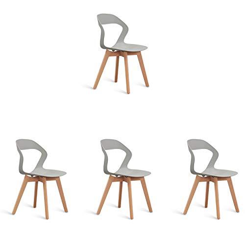 N/A Set mit 4 kreativen und einfachen Esszimmerstühlen aus Kunststoff mit Rückenlehne und Armlehnen für Zuhause, Küche, Restaurant, Café, Wohnzimmer, Lounge, Arbeitszimmer grau
