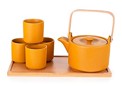 Happy Sales HSTS-KYTYLO, Ceramic Teapot with Stainless Steel Infuser and Wooden Handle 28 fl ounce and Four Tea Cups with Bamboo Serving Tray Tea Set, Yellow