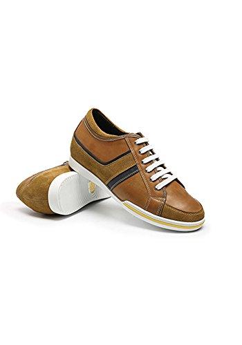 ZERIMAR Zapatos Deportivos con Alzas Interiores para Hombres Aumento 6 cm | Zapatos de Hombre con Alzas Que Aumentan Su Altura | Zapatos Hombre Casuales | Color Marron Talla 42
