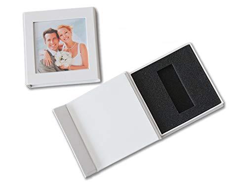 Caja USB de boda con ventana de imagen, piel sintética, color blanco, sin memoria USB