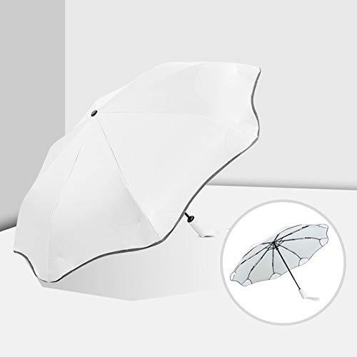 Paraguas de Negocios automático Completo Anti-UV 3 Sombrilla Plegable para Hombre y Mujer Sombrilla para el Sol Lluvia para Mujer Paraguas de Lujo a Prueba de Viento para Hombres - Automático Blanco
