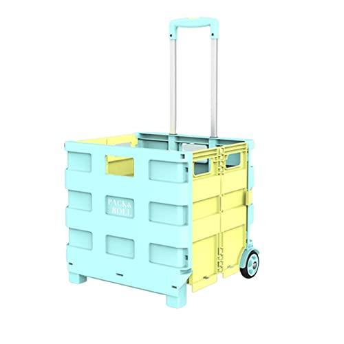 Carro de la Compra Plegable con Caja de Uso de 2 Ruedas Carrera de Carretilla móvil Plegable para Comprar, Oficina, Viajes (Color : Blue, tamaño : Large)