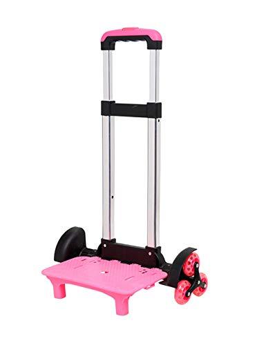 besbomig Carrello per Zaino di Scuola Trolley per Zaino Portata 50 Kg Pieghevole Resistente Carrello Portavaligie con 6 Ruote, Rosa (38 x 25 x 84 cm)