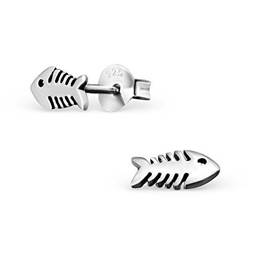 Laimons Kids Orecchini a pressione per bambini gioielli per bambini Lisca di pesce ossidato Argento Sterling 925