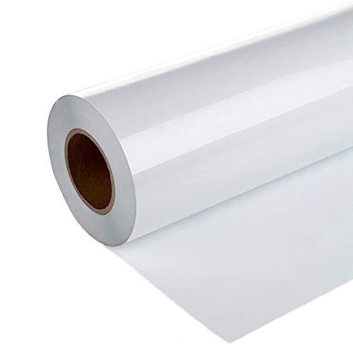 "Heat Transfer Vinyl 12"" x 10' Feet Rolls,1 Roll Vinyl Heat Transfer Iron On DIY Garment Film Silhouette Paper Art, Hats and Other Textiles DIY Heat Press Design for T-Shirt, Clothes (White)"