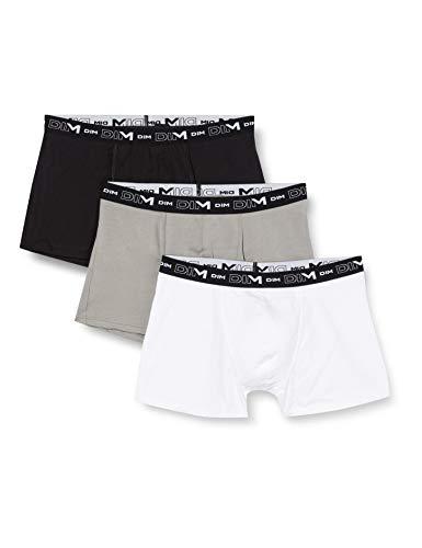Dim Herren Coton Stretch Boxer X3 Boxershorts, Mehrfarbig (Noir/Gris/Blanc 788), Small (Herstellergröße: 2) (3er Pack)