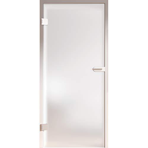 HORI® Glastür Komplettset inkl. Zarge und Türgriff I satinierte Milchglas Dreh-Tür aus 8 mm ESG Glas I DIN links I 1972 x 834 x 200 mm