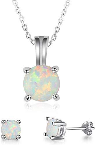 925 Conjunto de joyas de plata para mujer Pendientes colgantes de ópalo Forma redonda Piedra natal de octubre Joyería de boda Regalos de cumpleaños del día de San Valentín