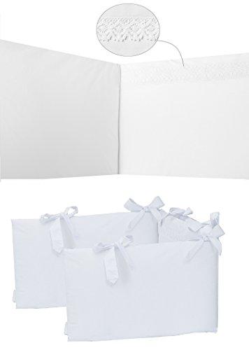 Vizaro - Protector - Chichonera Cuna 60x120cm - 100% Algodón con cremallera, desenfundable - Hecho UE, OekoTex - Bordado Blanco