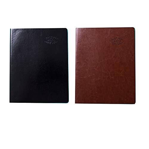 FACHAI 2 blocs de notas A5, planificador semanal, cuaderno de notas, planificador diario, de piel sintética, 21 x 14,9 cm, color marrón y negro