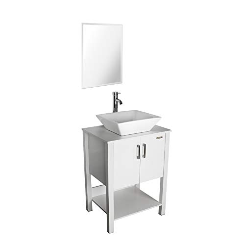 """eclife 24"""" Bathroom Vanity Sink Combo White Cabinet Modern Stand Pedestal W/Square White Ceramic Vessel Sink, Chrome Bathroom Solid Brass Faucet and Pop Up Drain Combo, with Mirror (A07B12W)"""
