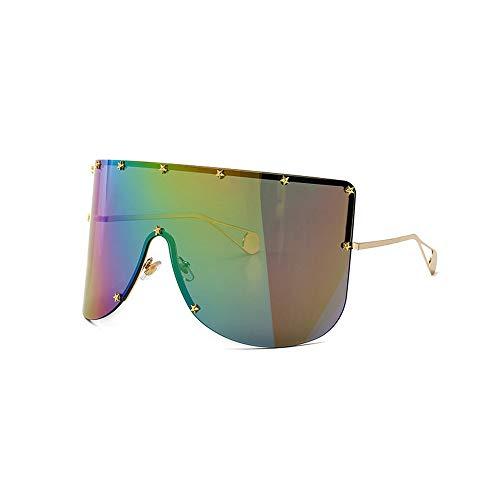 MINCL/Vintage Retro Shield Visor Sunglasses Women 2019 Oversized Windproof Glasses One Peice Big Frame Goggles Sun Glasses (Rainbow)