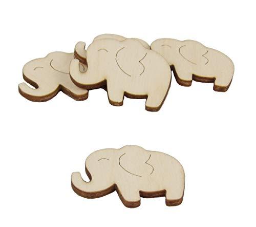 Kreativknoten Streudeko Set aus Birke/Motiv Elefant (20 Stück)
