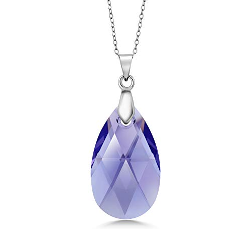 Gem Stone King 925 Sterling Silver Lavender Deardrop Pendant Necklace for Women 18 Inch Made with Crystals