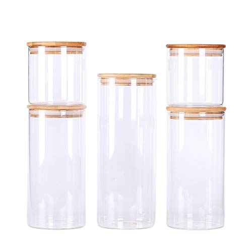 Stackable Kitchen Canisters Set, Pack of 5 Clear Glass Food Storage Jars Containers with Airtight Bamboo Lid for Candy, Cookie, Rice, Sugar, Flour, Pasta, Nuts