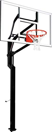 goaliath basketball hoops Goalsetter All-American In Ground Adjustable Basketball System with 60-Inch Glass Backboard and Double Static Rim, Black (SS45560G2)