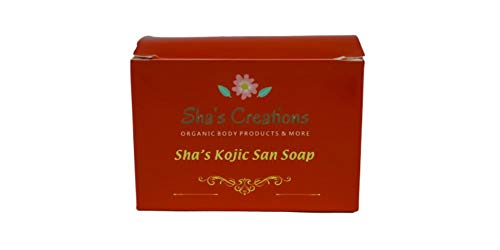Sha Kojic San Soap By Shas Creations, WHITE WHITENING SOAP, For Dark Skin, MADE IN USA, Organic And Cruelty Free